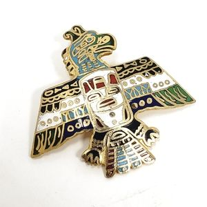 Vintage Aztec Bird with Feathers Hand Painted Pin
